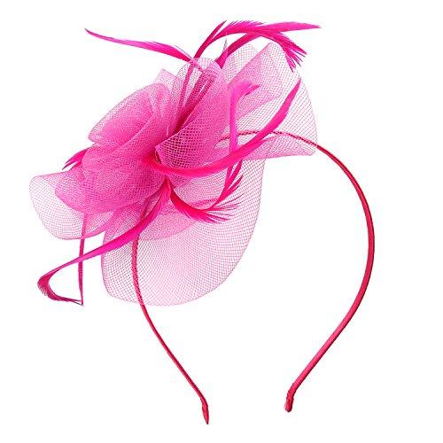 Haarschmuck Haarreif eleganter Fascinator mit Federn Blumen Kopfbedeckung Braut Hochzeit (Rosarot) (Hat Derby-kirche)