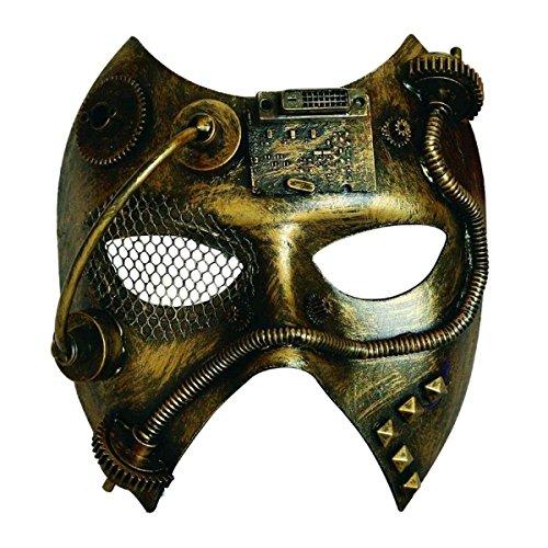 Dream Erwachsene Kostüm Für Steam - Dark Dreams Gothic Steampunk Maske Golden Steam I Gears Cyber Robot Metalloptik