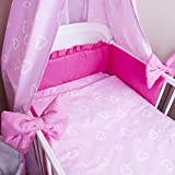 Amilian® Bettwäsche Baby Bettset Herzen rosa Größe 100x135 cm (40x60 cm)