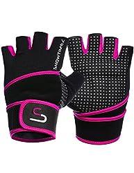 SHOWTIMEZ Trainingshandschuhe Fitness Handschuhe Grips für Gewichtheben - Schwarz/Lila - S