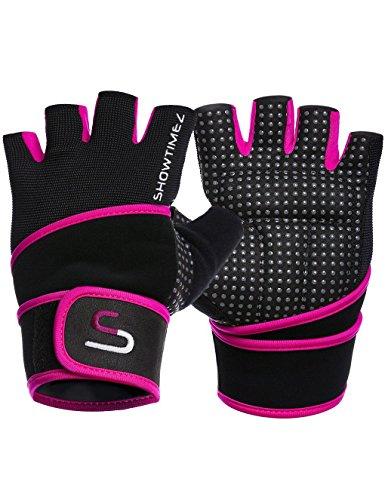 SHOWTIMEZ Trainingshandschuhe Fitness Handschuhe Grips für Gewichtheben - Schwarz/Lila - S (Der Arbeit Handschuh Die Qualität)