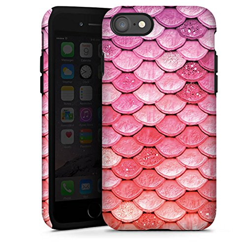 Apple iPhone 6 Plus Silikon Hülle Case Schutzhülle Regenbogen Schuppen Meerjungfrau Tough Case glänzend