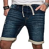 Sublevel Herren Jogg Jeans Shorts kurze Hose Bermuda Sommer Short Sweathose Slim [B23 - Dunkelblau - W31]