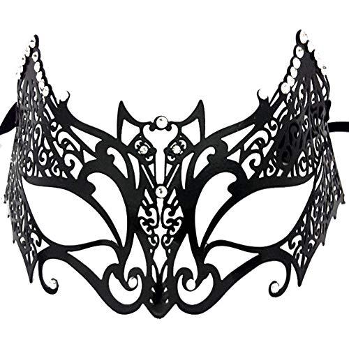 Ndier Maske kostüm Venetian Stil Metallmaske Luxus Abschlussball Partei Schablonen glänzender Diamant Maskerade Maske für Frauen schwarz Bat Kleidung