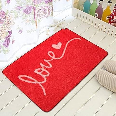 MOREY Cuarto de baño Alfombra antideslizante Cojín de cocina de colchón absorbente de agua Colchón largo de colchón Puerta sanitaria ( Color : Rojo )