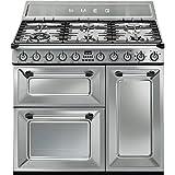 Smeg TR93X Independiente Encimera de gas B Acero inoxidable - Cocina (Independiente, Acero inoxidable, Giratorio, Frente, Encimera de gas, esmalte de acero)