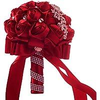 Hunpta - Ramo de novia de flores de seda artificiales con rosas de cristal, perlas para dama de honor, rosso