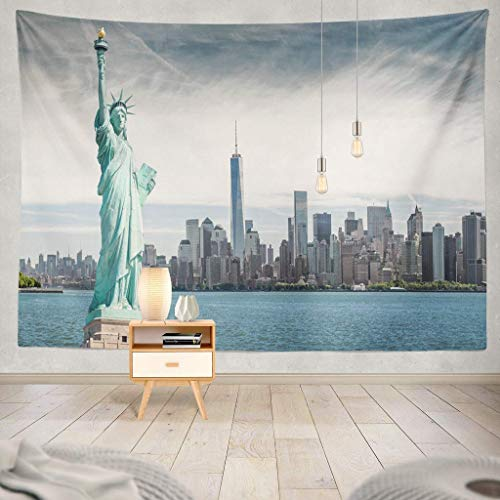 Tapisserie Statue with World Trade New York City USA York New USA Statue Skyline America Landmark City Manhattan PatrioticDecorative Tapestry,60X60 Inches Wall Hanging Tapestry for Bedroom Living Ro