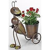 Pot de fleurs Charrette Fourmi, Figurine de jardin fourmi avec pot de fleurs porte- tirant