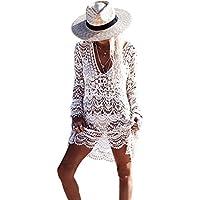 Femme Robe de plage Blanc Detelle Crochet Col V Manche longue Mini Robe (Taille unique, Blanc)