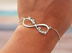 Idea Regalo - Argento Braccialetto infinito con 2 Nomi personalizzato - Bracciale per coppia Lovers - Braccialetto in argento simbolo infinito regalo per Amante argento