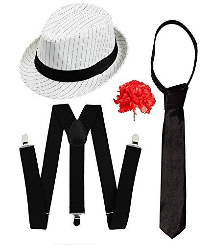 Kostüm Scarface Zubehör - Gangster-Kostüm-Set, für Herren, elegant, Zubehör, Luxus-Kit, schwarz oder weiß, Nadelstreifen, Filzhut und weiße Hosenträger + weiße Krawatte, Al Capone-Stil
