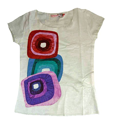 DESIGUAL-Kids-Mdchen-T-Shirt-WEISS-mit-groen-bunten-Patches-DG-156-Gr-56
