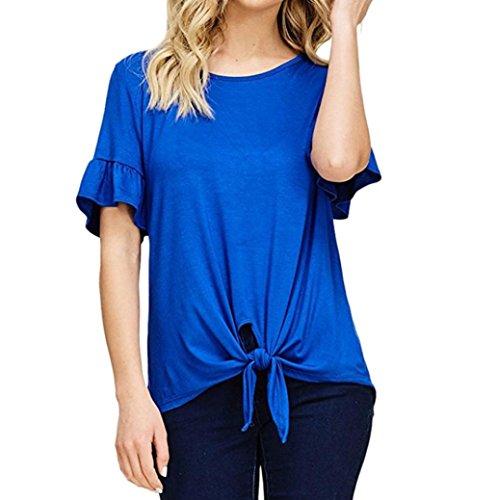 ESAILQ Damen Modisch Damen Shirt Kurzarm Revers Schlank Hemd Arbeit V-Ausschnitt mit Knöpfe(XL,Blau) (Schürze V-ausschnitt)