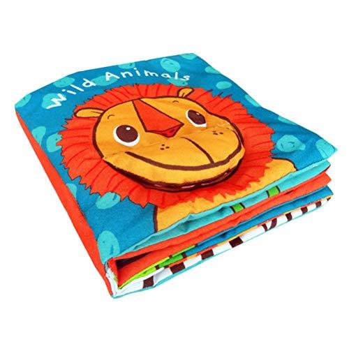 YeahiBaby Stoffbuch Baby Löwe Muster Form Weiches Bilderbuch Pädagogische Spielbuch Stoffspielzeug