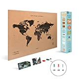 Miss Wood Map XL Mappa del Mondo, PVC, Nero, XL-60x90cm