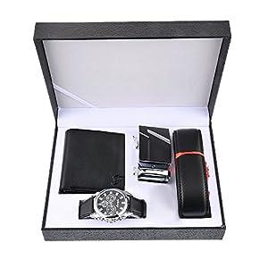 Souarts Herren Geschenkset mit Armbanduhr Männer Geldbörse Gürtel Sonnenbrillen Auto Schlüsselanhänger Geschenk Set für Herren