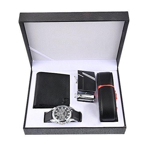 Souarts Herren Geschenkset mit Armbanduhr Geldbörse Gürtel Geschenkset für Herren Schwarz (mit Geldbörse) - Gürtel Herren Leder