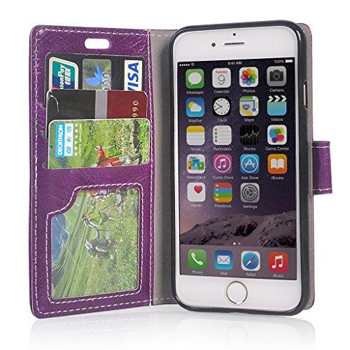 UKDANDANWEI iPhone 7 Hülle - Nette Muster Nähen Ledertasche Wallet Case Classic Schutzhülle Etui Hülle Schale - mit Standfunktion Für iPhone 7 - Rot Lila