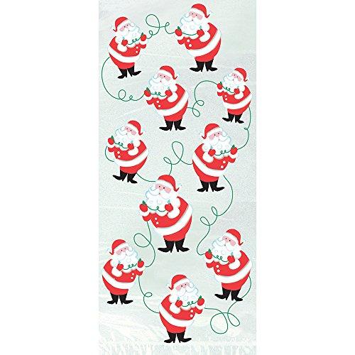 Unique - Confezione Da 20 Sacchetti Regalo Natalizi, Motivo Babbo Natale