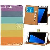 NALIA Funda Libro Compatible con Samsung Galaxy S7 Edge, Motivo Carcasa con Tapa Ultra-Fina Case Cover, Dura Cubierta Cuero Sintético Vegan Protectora Telefono Movil Bumper, Designs:Colorful Stripes