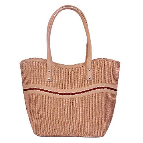 Womaniya Jute And Canvas Women's Handbag - Brown (Woman-1129)