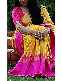 Clothsfab Women's Bhagalpuri Silk Ready Pleated Sarees With Blouse Piece (Palluuu 009_Pink)