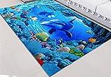 3D Teppich Fußmatte Bereich Eingang Matte Vorleger für Küche Badezimmer Wohnzimmer (40*60cm(15.7*23.6inch), Delfine 2)