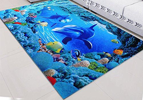 Weiße Blumen Bereich Teppich (3D Teppich Fußmatte Bereich Eingang Matte Vorleger für Küche Badezimmer Wohnzimmer (80*120 cm(31.4*47.2inch), Delfine 2))