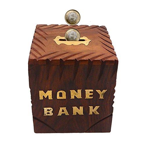 Banco dinero hecho mano barril madera niños - Acentos