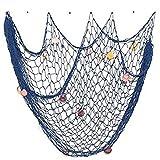 Toruiwa Deko Fischernetz Maritime Dekoration mit Farbigen Muscheln für Schlafzimmer Wohnzimmer Kinderzimmer Wand Deko Bar Party Decor Fotografie 150 * 200cm (Blau)