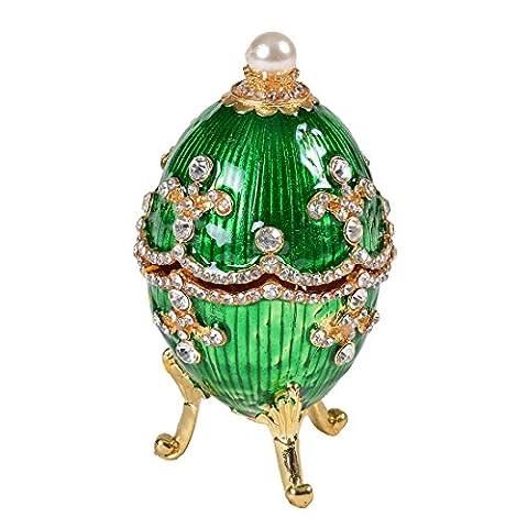 Micg Fabergé Style Vert en forme d'œuf Boîte à bijoux boîte à bijoux pour bague–Figurine de collection