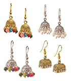 #4: Valvet Store 4 Jhumkas For Women Traditional Jhumka Earrings For Women Stylish Jhumki Earings For Girls Stylish Golden Earrings For Women Party Wear