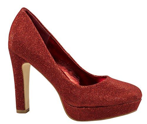 Elara Damen Plateaupumps | Party Hochzeit Stilettos | Glitzer High Heels Schuhe Rot