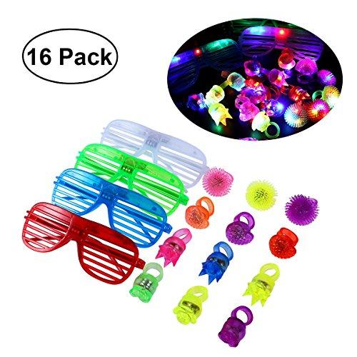 TOYMYTOY 16 Stück LED Party Brille Ringe Set ,Leuchten Brillen Fingerringe Party Favors Funkelnde Sonnenbrille Partytüten (4 Gläser + 12 Ringe)