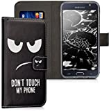 kwmobile Wallet Case Kunstlederhülle für Samsung Galaxy J5 (Version 2016) DUOS - Cover Flip Tasche in Don't touch my Phone Design mit Kartenfach und Ständerfunktion in Weiß Schwarz