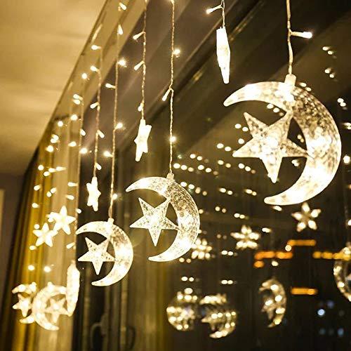 KINJOHI Mond Sterne Vorhang Lichter Ramadan EId String Licht islamischen muslimischen Dekoration Party Supplies