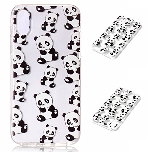 Fodlon® Vent de Hibou Transparent Soft Case pour Apple iphone X Panda