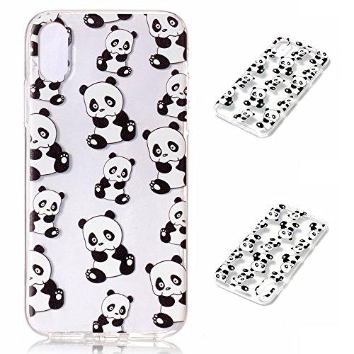 Fodlon® Eulenwind Transparent Weich Hülle für Apple iphone X Panda