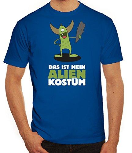 Fasching Karneval Herren T-Shirt mit Das ist mein Alien Kostüm 5 Motiv von ShirtStreet Royal Blau