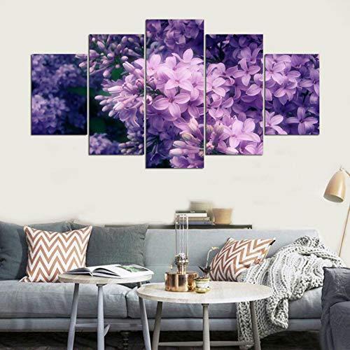 Kshvc Leinwandmalerei 5 gemeinsame Malerei Rahmenlos hd Inkjet lila Blume murals Hause Wohnzimmer Schlafzimmer büro Dekoration fünf aufeinanderfolgende gemälde-A