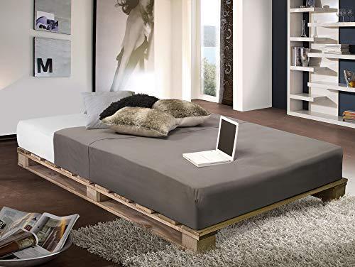 PALETTI Massivholzbett Holzbett Palettenbett Bett aus Paletten – Rustikal gebeizt - 7