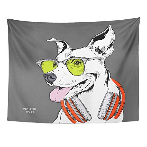 """AOCCK Wandteppiche, Tapestry Wall Hanging Animal The of Dog Portrait in Hip Hop Hat Headphones Beast Cap Character Club Cute 60"""" x 80"""" Home Decor Art Tapestries for Bedroom Living Room Dorm Apartment"""