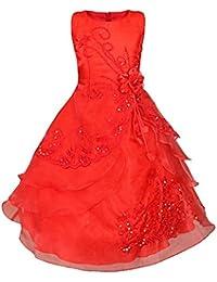YiZYiF Robe Fille Mariage Jupon Florales Broderies Perlés Robe Demoiselle d'Enfant 3-14 Ans