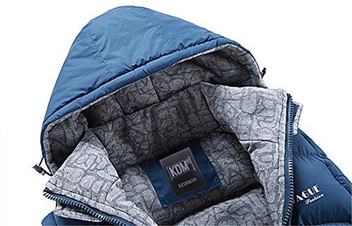 BININBOX NEU Herren Weste mit abnehmenbar Kapuze Daunenmantel Daunenjacke warm Wintermantel Blau
