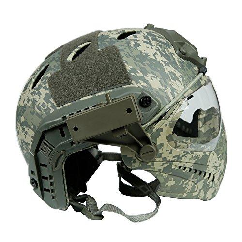 Taktischer Helm mit entfernbarer Gesichtsmaske und Schutzbrillen für Militärarmee Airsoft (Acu Airsoft-schutzbrillen)