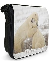 Polar Bears Hug Small Black Canvas Shoulder Bag / Handbag