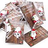 10 piccoli regali a forma di Babbo Natale rosso bianco verde con bigliettino - give-away regalino Natale per clienti, collaboratori, amici, come portafortuna