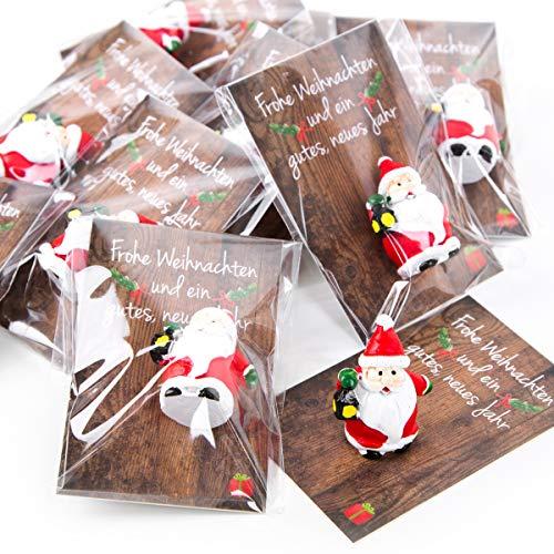 10 kleine mini Geschenke Santa Nikolaus Weihnachtsmann rot weiß grün MIT KARTE - give-away Mitgebsel Weihnachten Präsent Kunden Kollegen Mitarbeiter Freunde Glücksbringer