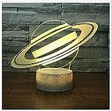 HYDYI Universum Saturn Nachtlicht Lampe 3D Sky Planet LED Lampe 7 Bunte Tischlampe für Kinder Weiß Basis Touch Switch
